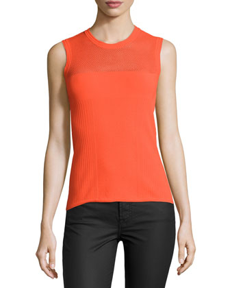 Jewel-Neck Sleeveless Tank Top, Orange
