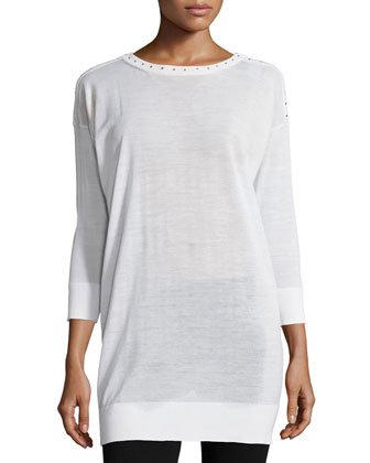 3/4-Sleeve Embellished Tunic, White