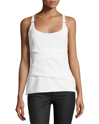 Sleeveless Scoop-Neck Camisole, White