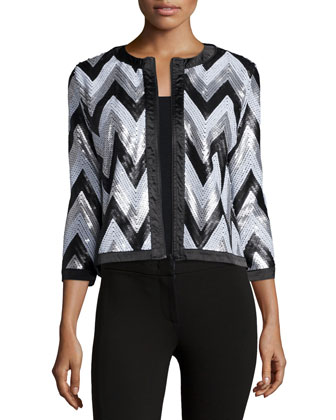 Zigzag-Sequined Jacket, Petite