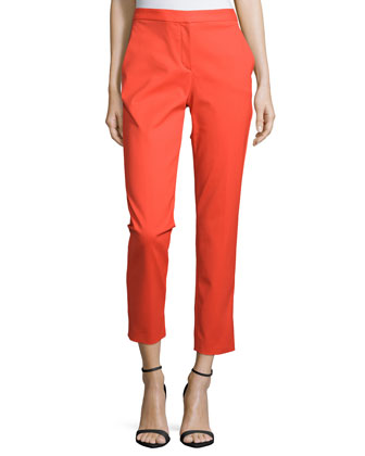 Straight-Leg Cropped Trousers, Orange