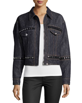 Embellished Denim Jacket, Navy