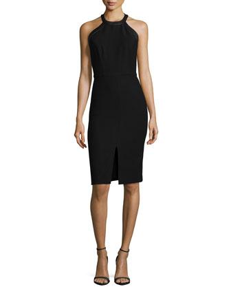 Jase Leather-Trim Sheath Dress, Black