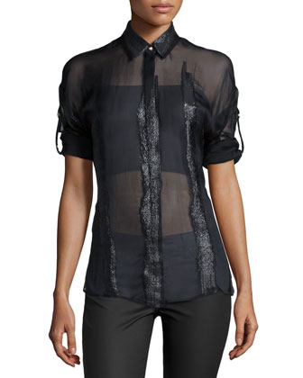 3/4-Sleeve Sheer Blouse, Black