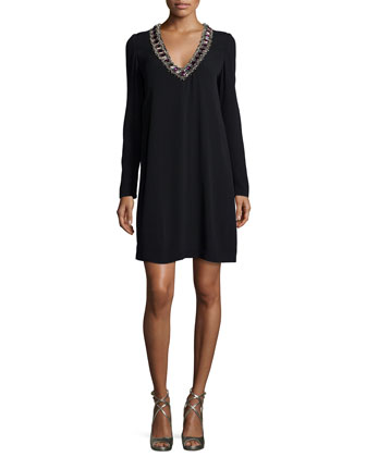 Prim Embellished Shift Dress, Black