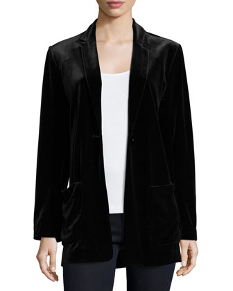 Velvet Button-Front Jacket, Women's
