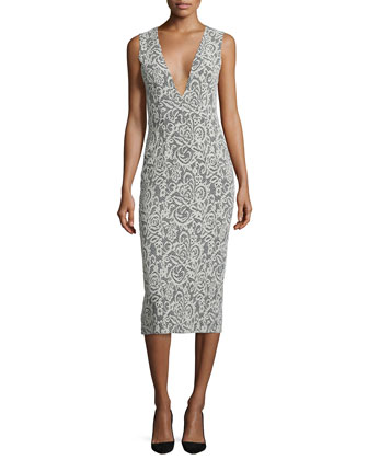 Lilia Sleeveless Lace-Print Midi Dress, Black/White