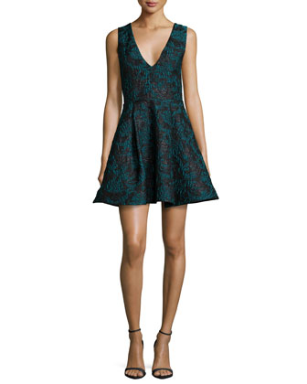 Malory Sleeveless V'd A-Line Dress, Black/Teal