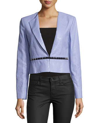 Embossed Leather Rever Collar Jacket, Lilac
