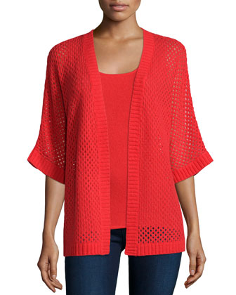 Open Weave Knit Cardigan