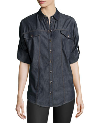 3/4-Sleeve Denim Blouse, Navy