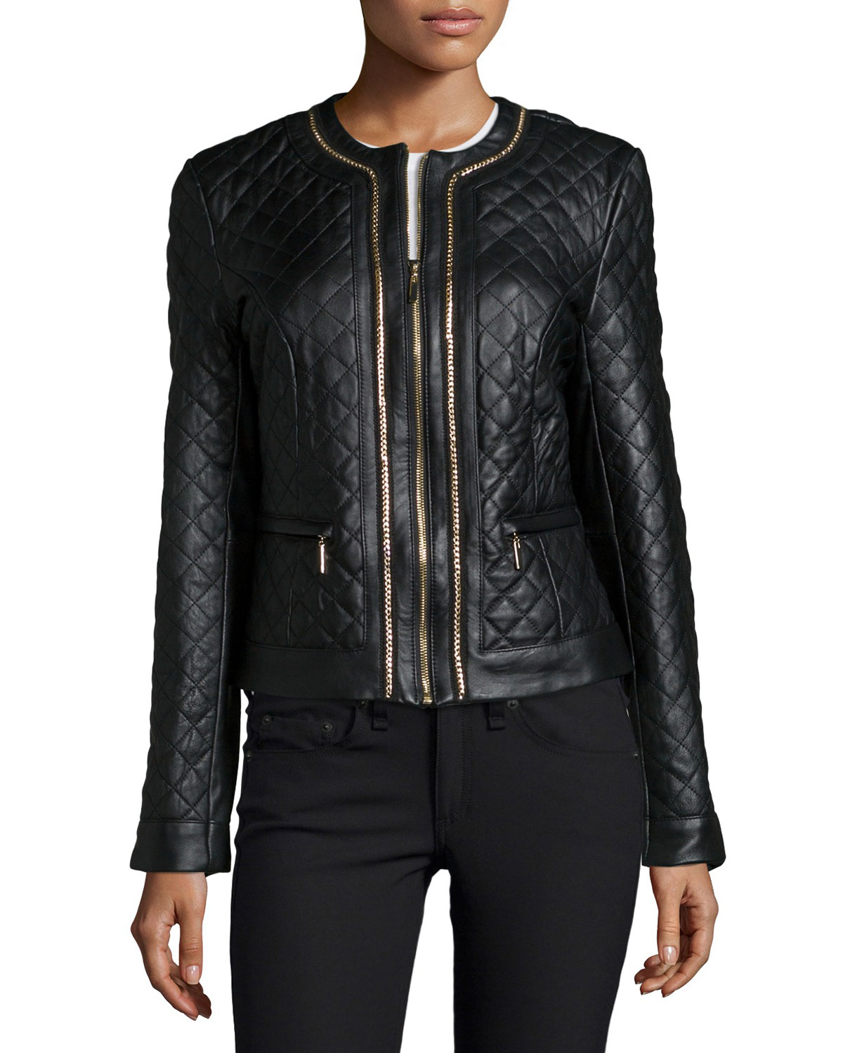 Quilted Leather Jacket W/ Chain Trim, Size: LARGE(12-14), BLACK - Neiman Marcus