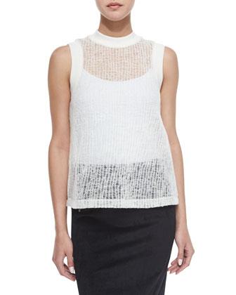 Sheer Crinkled Muscle Tee & Scuba Zip Pencil Skirt