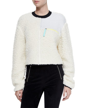 Paneled Zip Pullover Sweater, Ivory