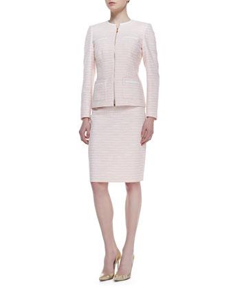 Long Sleeve Tweed Skirt Suit, Peach Sorbet