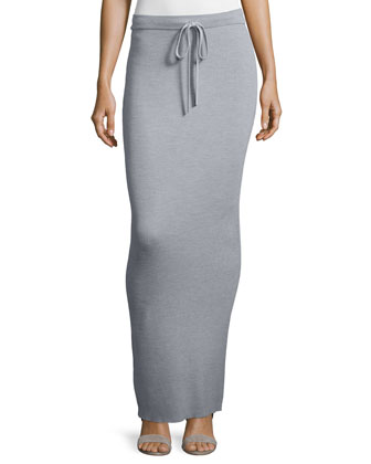 Ribbed Drawstring Maxi Skirt, Heather Gray