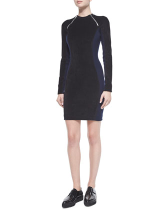Long-Sleeve Scuba Zip Dress, Midnight