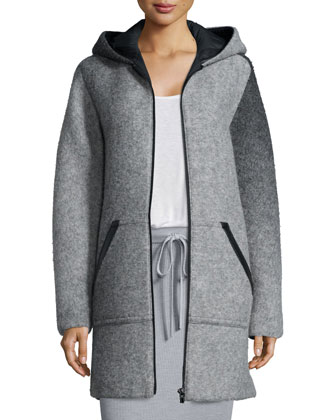 Hooded Wool Zip Jacket, Long-Sleeve Jersey Tee & Ribbed Drawstring Maxi ...