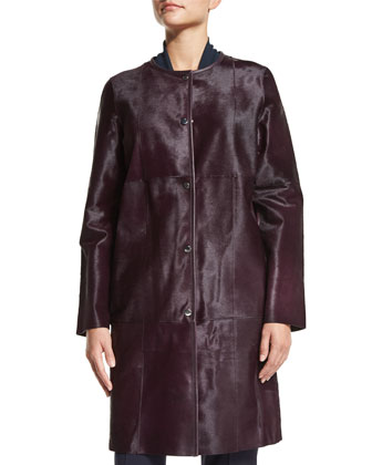 Della Calf Hair Coat, Louise Tie-Neck Silk Blouse & Barrow Straight-Leg ...
