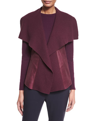 Melosa Ribbed-Collar Lambskin Vest, Cashmere Long-Sleeve Sweater & Stanton ...