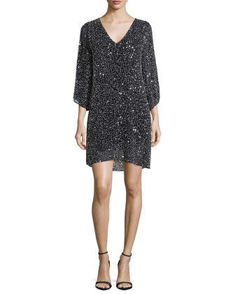 Shary Beaded Shift Dress, Black