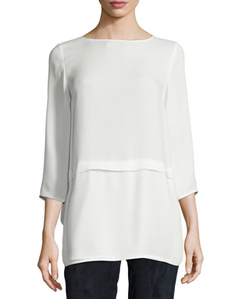 Glenda 3/4-Sleeve Silk Blouse