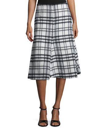 Flared Check-Print Skirt, White/Black