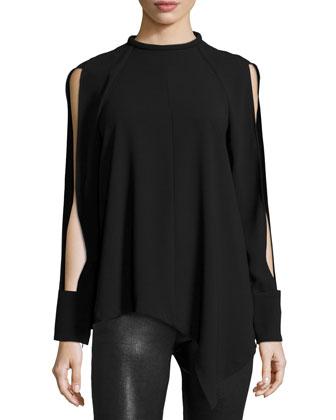 Asymmetric Plaid Blanket Wrap & Long-Sleeve Mock-Neck Top