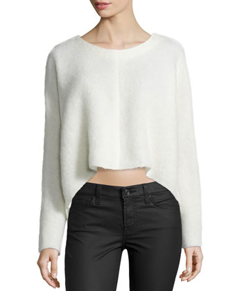 Long-Sleeve Scooped-Hem Top, Ivory