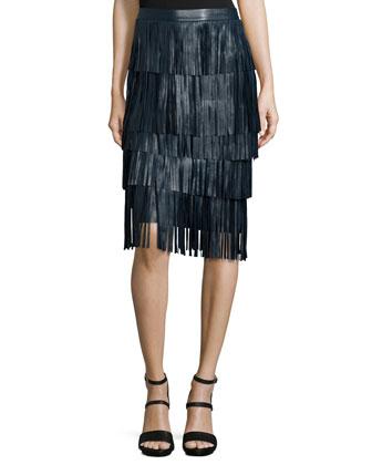 Layered-Fringe Leather Midi Skirt, Petrol