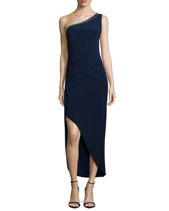 One-Shoulder Embellished Gown, Dark Midnight