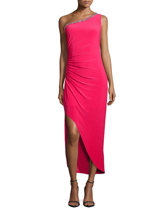 One-Shoulder Embellished Gown, Coral Rage