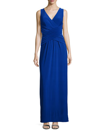Sleeveless Crisscross Gown, Blue Beret