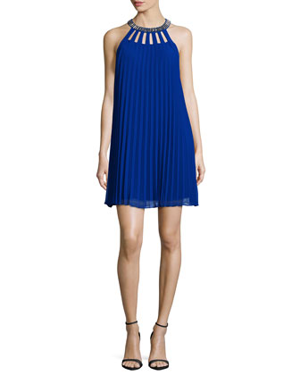 Sleeveless Pleated Mini Dress, Blue Beret