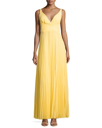 Sleeveless Pleated Open-Back Gown, Canary Yellow