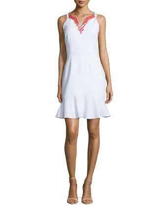 Sleeveless Beaded-Neckline Dress, Optic White