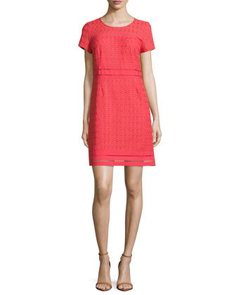 Cap-Sleeve Round-Neck Lace Dress, Hibiscus