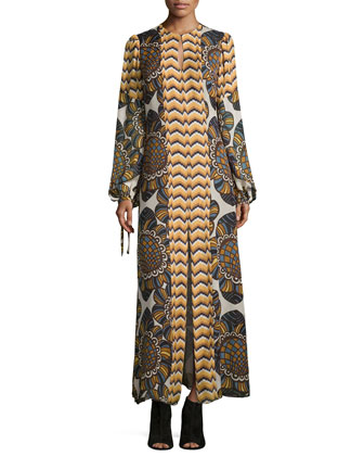 Long-Sleeve Printed Maxi Dress, Golden Multi