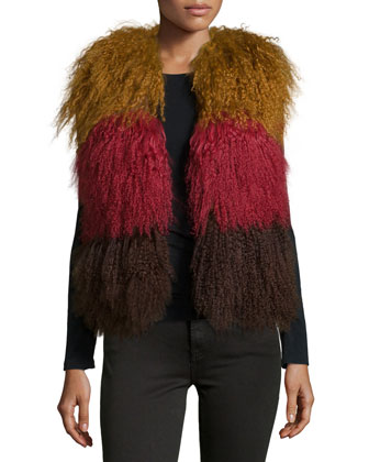 Colorblock Lamb Fur Vest, Nutmeg Multi