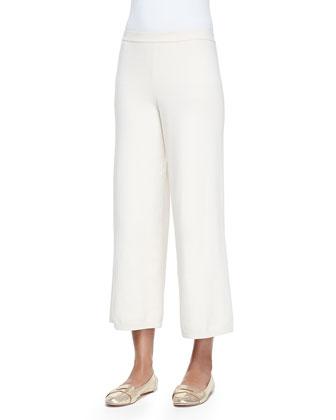 Silk-Cashmere Wide-Leg Pants, Ivory, Petite