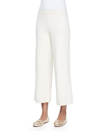 Silk-Cashmere Wide-Leg Pants, Ivory , Women's