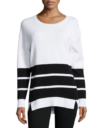 Aliso Long-Sleeve Triple-Stripe Sweater, White/Black