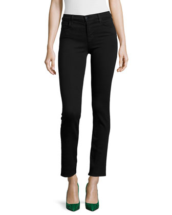 Maria Mid-Rise Straight-Leg Jeans, Black Shadow