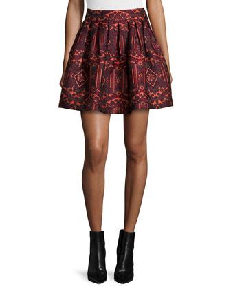 Rhona Lace-Trim Chiffon Blouse & Stora Pleated Tribal-Print Skirt