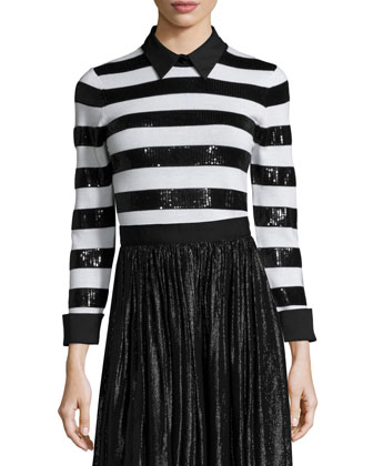 Marlee Sequin-Trim Wool Sweater & Rosemarie Silk-Blend Midi Skirt