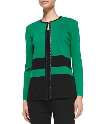 Long Stripe Knit Jacket, Petite