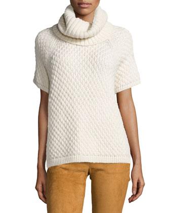 Short-Sleeve Alpaca Turtleneck Sweater & Suede Bell-Bottom Pants