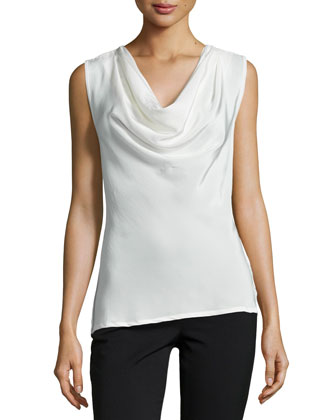 Lilibeth Cowl-Neck Sleeveless Top, Blanc