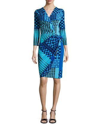 Geometric-Print Faux-Wrap Dress, Peacock Blue