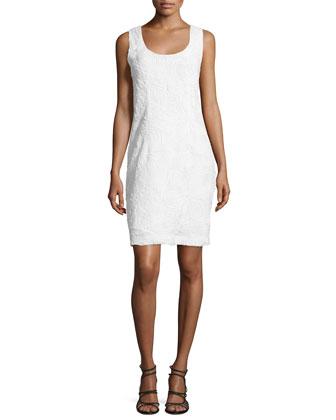 Sleeveless 3D-Lace Sheath Dress, Off White
